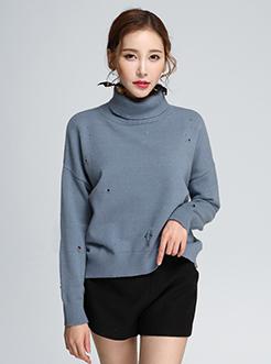三福2017春装新品女高领毛衣 破洞宽松套头针织衫女