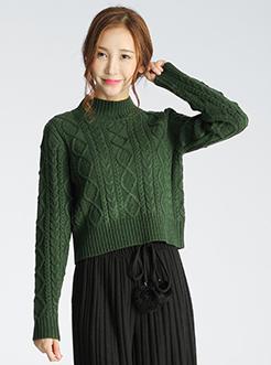 三福2017春装新品女麻花毛衣 宽松套头针织衫女