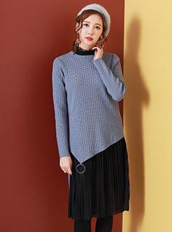 三福2017女春立领蕾丝裙+不规则下摆毛衣 淑女两件套