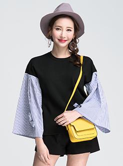 三福2017春装新品女圆领毛衣 条纹拼接袖针织衫女
