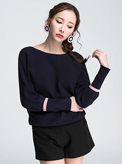 三福2017春装新品女蝙蝠套头毛衣 后背绑带针织衫女