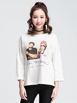 三福2017春装新品女圆领长袖T恤 宽松套头上衣女