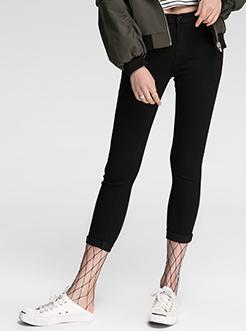三福2017春装新品女毛边小脚打底裤 修身黑色长裤女
