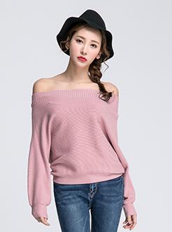三福2017春装新品女纯色一字领毛衣 蝙蝠套头针织衫女
