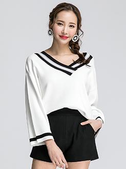 三福2017春装新品女撞色V领毛衣 宽松套头针织衫女