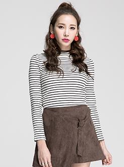 三福2017春装新品女小高领长袖T恤 螺纹坑条打底衫女