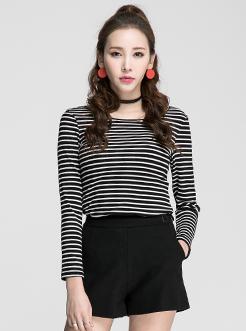 三福2017春装新品女圆领/V立领长袖T恤 坑条上衣女
