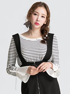 三福2017春装新品女圆领套头长袖T恤 拼接喇叭袖上衣女