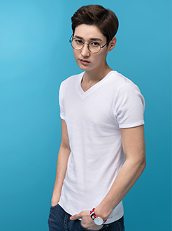 三福2017男装夏季新品棉修身运动男士V领短袖健身T恤