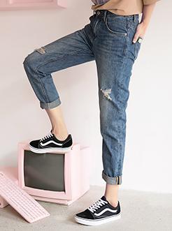 三福2017女夏季新品磨破牛仔褲 修身顯瘦百搭長褲