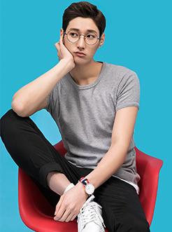 三福2017男夏季新韩版圆领套头合身净色休闲短袖T恤