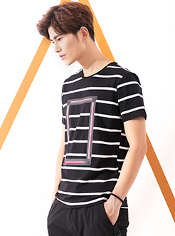 三福2017夏装新品圆领男织带条纹T恤 休闲合身短袖上衣男