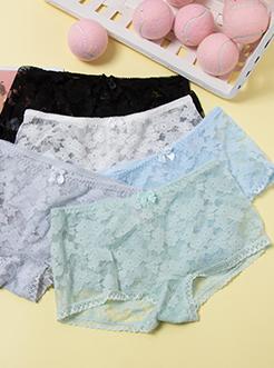 圣绯蕊 女蕾丝花边透气性感内裤 舒适防走光安全平角底裤