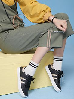 三福飒达夏2018学院系列撞色双杆系带平底低帮板鞋
