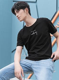 三福2018夏装新品男竹节棉短袖T恤 舒适圆领套头上衣男