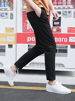 三福2018夏装新品男合身小脚休闲裤 净色抽绳棉感长裤男