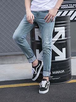 三福2018夏装新品男洗水磨破牛仔裤 可拆贴?#22841;?#36523;长裤男