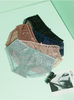 圣绯蕊 女半平角内裤 性感蕾丝格子网布轻薄低腰底裤