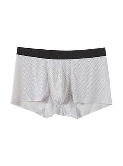 圣绯蕊 男平角内裤 冰丝网眼无痕轻薄贴边四角底裤