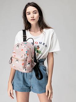 三福飒达夏2018趣味印花双肩包学生创意可爱背包女包