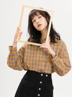三福2018秋装新品女长袖格子衬衫 复古日系衬衣外套女