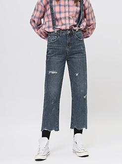 三福2018秋装新品女直筒棉质背带裤 毛边脚口牛仔裤女