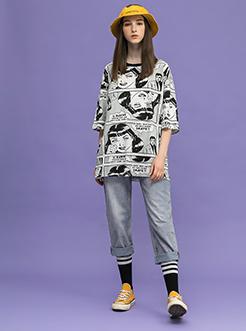 三福2018秋装新品女休闲卷边牛仔裤 宽松直筒长裤女