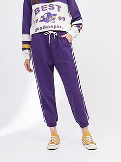 三福2018冬裝新品女側邊撞色條休閑褲 學生抽繩運動褲女