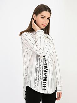 三福2018秋裝新品女寬松條紋襯衫 街頭風字母印花襯衣女