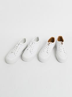三福2018经典PU系带学生低帮板鞋休闲女鞋小白鞋