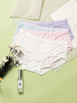 三福 女半平角内裤 轻薄方格提花时尚包臀贴身底裤