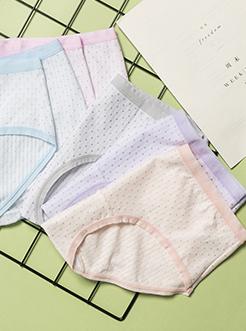 三福 女三角内裤 双层腰头碎花提花护腹高腰亲肤底裤