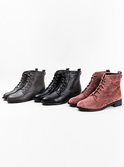 三福2018女冬圆环纯色系带粗跟短靴时尚韩版马丁靴女鞋