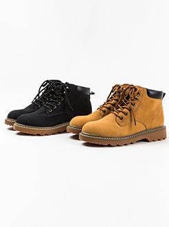 三福2018女冬英伦风复古简约户外系带马丁靴短靴女鞋