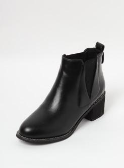 三福2018女冬时尚简?#21363;?#33394;粗跟短靴切西尔女鞋