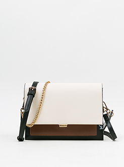 三福2019女春OL系列时尚撞色链条包信封包斜挎女包