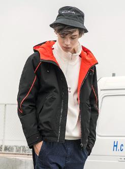 三福2018冬裝新品男短款撞色棉衣 時尚休閑連帽外套男