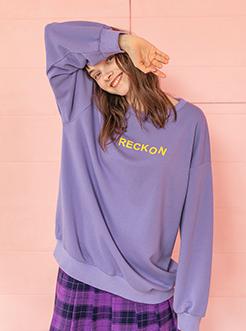三福2019春装新品女撞色字母长款卫衣 长袖圆领上衣女