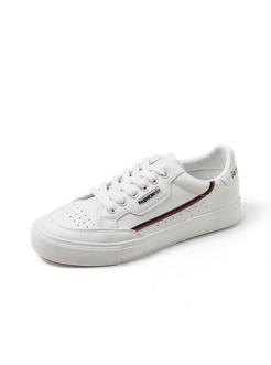 三福2018女春學生簡約撞色織帶低幫板鞋休閑女鞋