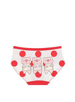 三福 女内裤 趣萌卡通小猪莱卡棉弹力亲肤底裤