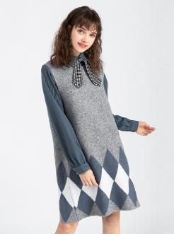 三福2019春装新品女菱格a字连衣裙 气质甜美背心裙女