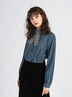 三福2019春裝新品女格紋領結長袖襯衫 簡潔寬松襯衣女