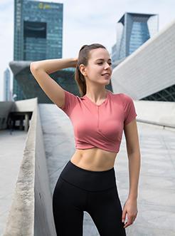 三福2019春装新品女交叉露脐运动上衣 短款简约瑜伽服女