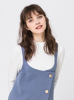 三福2019春装新品女小高领长袖T恤 简约修身打底衫女