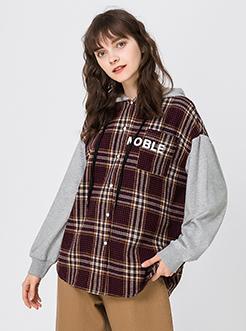 三福2019春装新品女格纹连帽衬衫 学生撞色长袖衬衣女