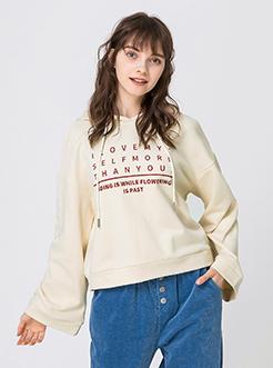 三福2019春裝新品女連帽寬松衛衣 字母印花棉質上衣女
