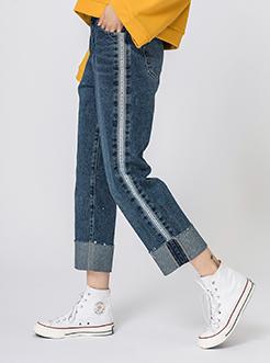三福2019春裝新品女藍色直筒牛仔褲 休閑側邊織帶長褲女