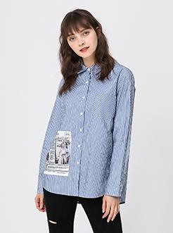 三福2019春裝新品女創意印圖長袖襯衫 時尚棉質襯衣女