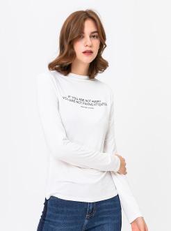 三福2019春装新品女小高领长袖T恤 莫代尔简约印花上衣女