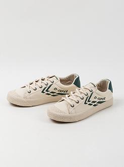 三福2019女春复古胶头撞色条低帮系带休闲板鞋帆布女鞋